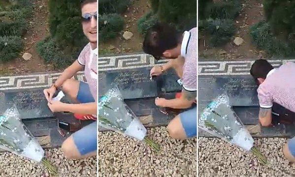Çmenduria e turistit, pi drogë mbi në varrin e Pablo Escobar (VIDEO)