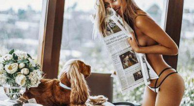 Super SEKSI e mbuluar me gazeta/ Pozon topless duke u bërë e parezistueshme (FOTO)