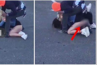 """Biondja """"bën përshesh"""" brunen, nga sherri i dalin të pasmet sheshit (VIDEO)"""