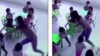 TMERRUESE/ Edukatorja i heq karrigen vajzës, vogëlushja rrëzohet në dysheme…(VIDEO)