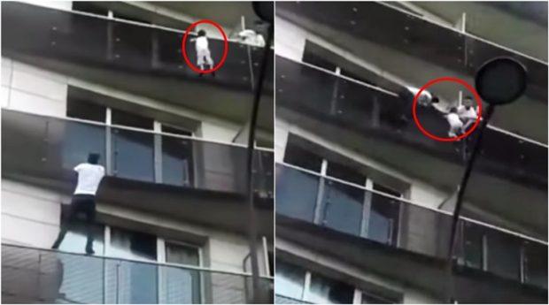 Babai u vonua duke luajtur, nëna falenderon 'Spidermanin' që i shpëtoi fëmijën (VIDEO)