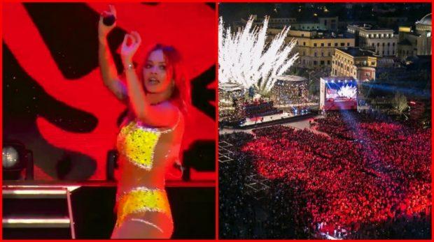 """Me flamur KUQ E Zi e me valle SHQIPTARE, Rita Ora """"djeg"""" skenën: Të dua Shqipëri… (VIDEO)"""