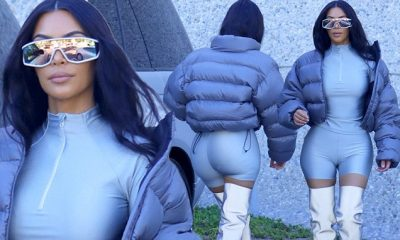 Teksa bënte xhiro në lagje, Kim Kardashian prezantoi koleksionin e ri të veshjeve të Kanye-s dhe jemi pa fjalë