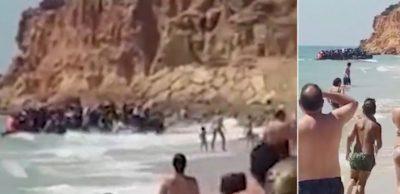 PUSHUESIT MBETEN GOJËHAPUR/ Gomonia me 50 marokenë zbarkon në plazhin e… (VIDEO)