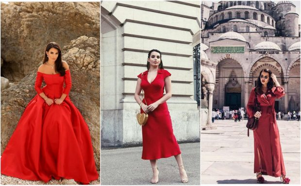 E FIKSUAR PAS NGJYRËS KUQE/ Tetë fustanet e Armina Mevlani që na bënë për vete (FOTO)