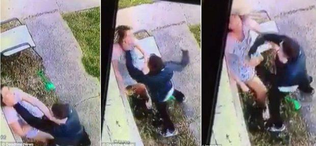 Gruaja sulmohet barbarisht nga i panjohuri në sytë e djalit 13 vjeçar (VIDEO)