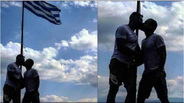 PLAS DEBATI/ Polici grek puthet në buzë me refugjatin para flamurit helen