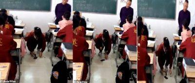 U KAP DUKE PËRDORUR TELEFONIN NË KLASË/ Nxënësja e shkatërron atë me çekiç si ndëshkim (VIDEO)