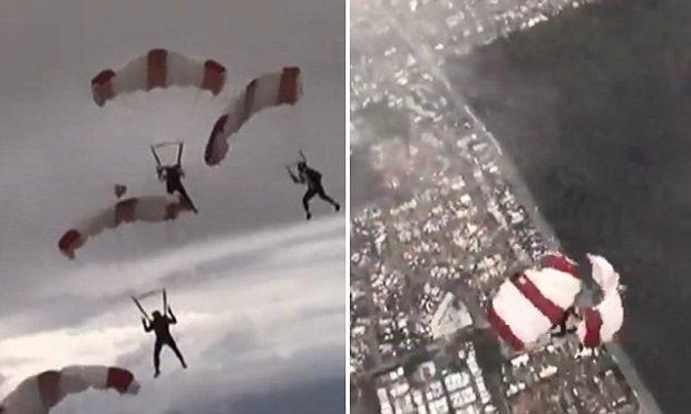 E FRIKSHME! Parashutistët përplasen në ajër në lartësinë 2 kilometra