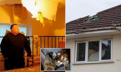 """""""Guri"""" gjigant prej akulli bie nga qielli dhe i shkatërron shtëpinë (FOTO)"""