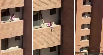 E FRIKSHME/ Vajza luan me kukullën në cepin e ballkonit (VIDEO)