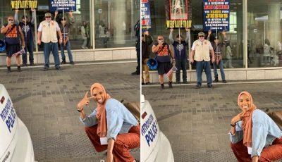 MESAZH SHPRESE/ Fotot e gruas me hixhab para protestuesve anti-myslimanë bëhen virale
