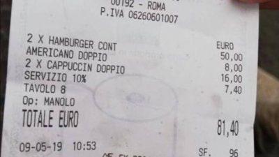 FATURA QË PO ÇMEND RRJETIN/ Hamburger dhe kapuçino: 81 euro