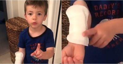 """""""ËSHTË LEUKOPLAST I MADH""""/ Djali i vogël merr pecetën higjienike nga tualeti i motrës dhe e vë në krah (VIDEO)"""