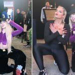 FOTOLAJM/ Dy këngëtaret e famshme bëjnë simbolin e shqiponjës në koncert