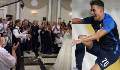 ME VALLE E KËNGË POPULLORE/ Në një dasmë tradicionale futbollisti shqiptar 'e djeg' në kërcim bashkë me nusen (VIDEO)