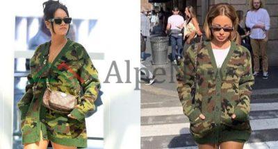 RASTËSI APO…? Aurela Hoxha me të njejtën veshje dhe pozicion si Rihanna (FOTO)