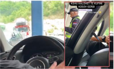 """""""E KAM PAS FIKSIM""""/ Ish-konkurrenti i Përputhen kalon kufirin serb me këngën e Adem Jasharit, shikoni reagimin e policit"""